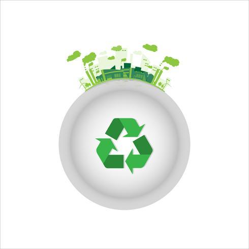 558564-fabbrica-industriale-ecologia-con-simbolo-di-riciclo-verde-vettoriale Grawerowanie laserowe w przemyśle odlewniczym