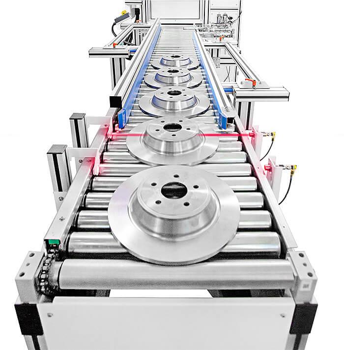 Sensori-Inizio-Linea Niestandardowy system laserowy z podwójną kamerą i zmotoryzowanym przenośnikiem rolkowym dla branży motoryzacyjnej