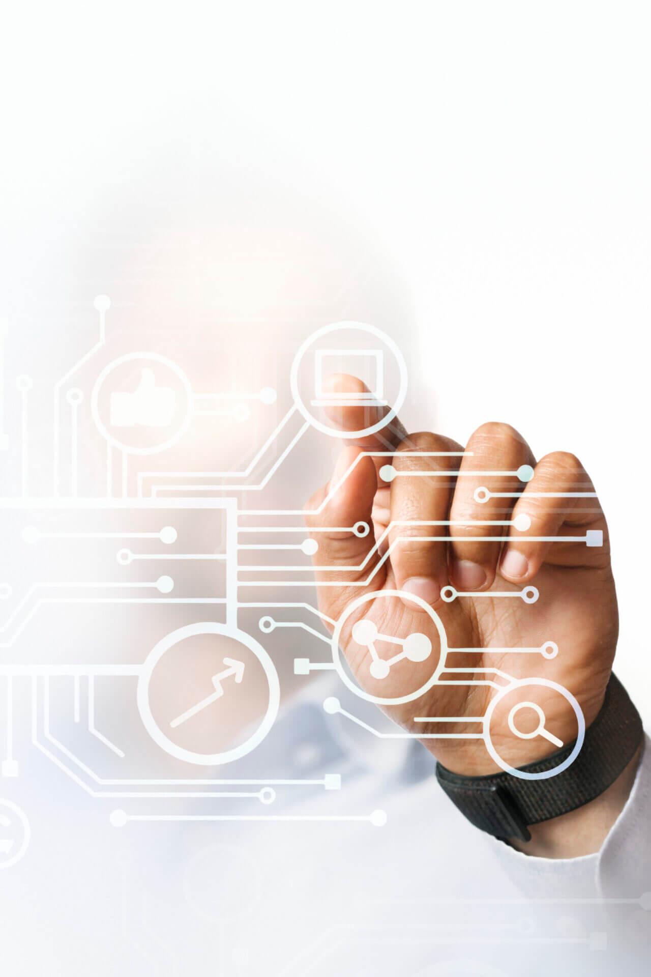 businessman-pointing-at-his-business-presentation-on-the-high-technology-digital-screen-scaled-1 Przemysł 4.0: dlaczego Twoja fabryka powinna się cyfryzować